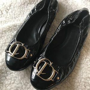 Dior Logo Ballet Flats Sz 37.5